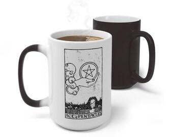 Tarot Card Color Changing Mug, Ace of Pentacles Tarot Mug, 11oz 15oz Mug, Magic Mug, Occult Divination Spiritual Color Change Ceramic Cup