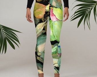 Womens Leggings, Boho Japanese Floral Leggings, Exercise Yoga Pants, Bohemian Abstract Leggings XS S M L XL Size, Workout Sports Wear Pants