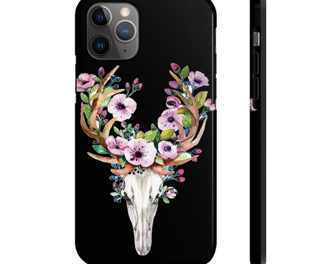 Case Mate Tough Phone Case, iPhone Samsung Phone Cover, Boho Floral Skull Phone Case, iPhone 11/11 Pro, Samsung Galaxy, iPhone XS XR