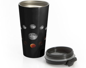 Stainless Steel Travel Mug, 2019 Blood Wolf Moon, Moon Phase Mug, Nature Boho Bohemian Hippie Travel Tumbler, 15oz Coffee Tea Drinkware