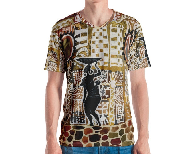 Mens V Neck Tee, All Over Print Shirt, Mens Boho African Print Shirt, Batik Tribal V Neck Tee, Boho Bohemian Shirt, S-3XL Beach Summer Tee