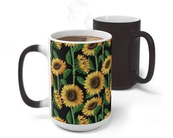 Floral Sunflowers Color Changing Mug, Magical Mug, 11oz 15oz Mug, Magic Mug, Bohemian Hippie Boho Mug, Color Change Cup, Ceramic Coffee Cup