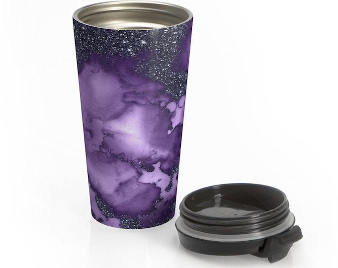 Stainless Steel Travel Mug, Watercolor Marble Boho Bohemian Travel Mug, Glitter Print Cup, 15 Ounce Tumbler, 15oz Coffee Tea Drinkware