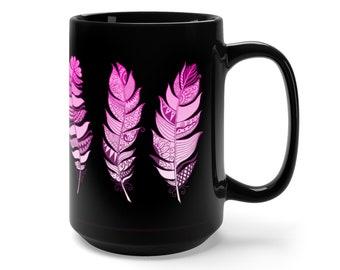 15oz Black Ceramic Mug, Boho Bohemian Feathers Novelty Mug, Novelty Drink Mug, Feather Coffee Mug, Boho Hippie Ceramic Mug Gift For Her Him