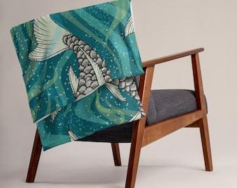 LARGE 50 x 60 Japanese Koi Fish Minky Fleece Throw, Fleece Blanket, Minky Blanket, Premium Silky Minky Floral Blanket, Asian Art Decor