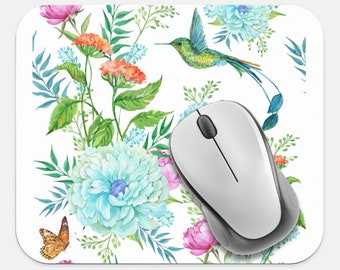 Hummingbird Mouse Pad, Flower Mouse Pad, Computer Accessories, Tech Supplies, Boho Bohemian Hippie Mouse Pad, Neoprene Non Slip Mouse Pad