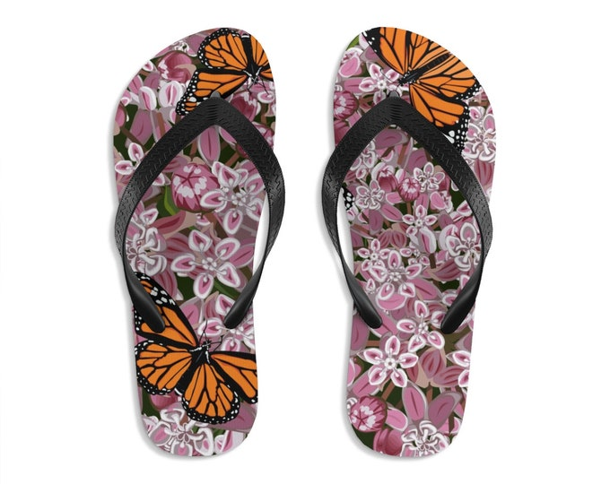 Unisex Flipflops, Floral Butterflies Boho Print Sandals, Soft Summer Beach Flip Flops, Beach Shoes, Boho Hippie Shoes, Bohemian Footware