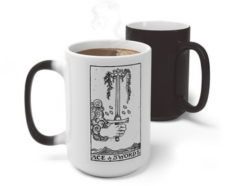 Tarot Card Color Changing Mug, Ace of Swords Mug, 11oz 15oz Mug, Magic Mug, Occult Divination Spiritual Mug, Color Change Cup, Ceramic Mug