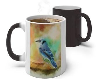Watercolor Blue Jay Bird Color Changing Mug, Magical Mug, 11oz 15oz Mug, Magic Mug, Bohemian Hippie Boho Mug, Color Change Cup, Ceramic Coff
