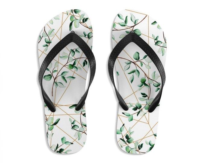 Unisex Flipflops, Leaves Geometric Print Sandals, Soft Summer Beach Flip Flops, Beach Shoes, Boho Hippie Sandals, Bohemian Footwear