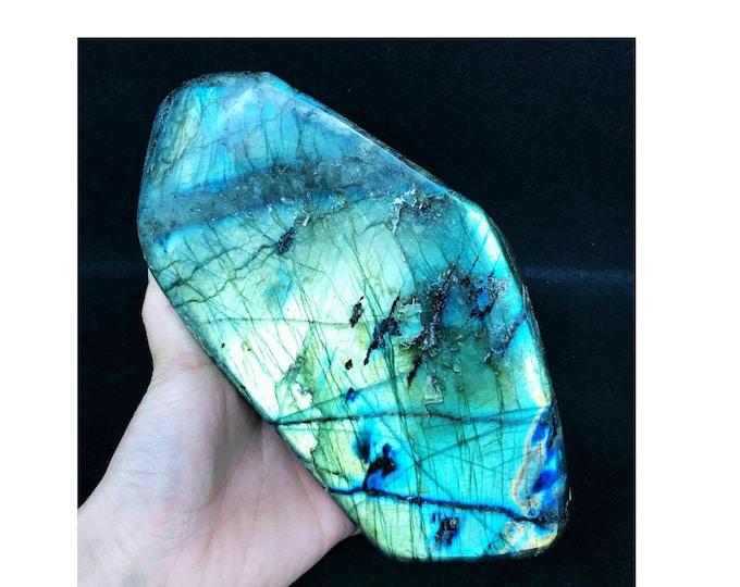 LARGE 4.6lbs Labradorite Polished Gemstone Specimen, Natural Labradorite crystal Display Specimen healing, Labradorite Gemstone tower