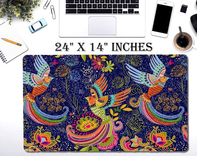 "LARGE Tribal Desk Pad, 24"" x 14"" Inch Non Slip Desk Pad, Office Accessories, Computer Tech Supplies, Boho Bohemian Hippie Neoprene Desk Mat"