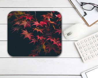 Autumn Leaves Mouse Pad, Nature Office Desk Accessories, All Over Print Tech Supplies, Boho Bohemian Hippie Rectangle Neoprene Mouse Pad