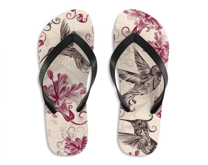 Unisex Flipflops, Hummingbird Flowers Print Sandals, Bird Summer Beach Flip Flops, Beach Shoes, Boho Flip Flop Shoes Footwear Accessories