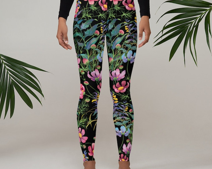 Womens Leggings, Boho Flowers Floral Leggings, Exercise Yoga Pants, Bohemian Butterfly Leggings XS S M L XL Size, Workout Sports Wear Pants