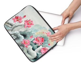 Japanese Floral Boho Laptop Sleeve, 12 13 15 Inch Laptop Sleeve, iPad Macbook  Carry Case, Computer Accessories, All Over Print Laptop Cover