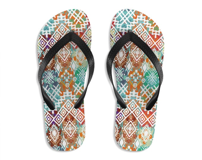 Unisex Flipflops, Bohemian Tribal Batik Print Sandals, Soft Summer Beach Flip Flops, Beach Shoes, Boho Hippie Flip Flop Shoes
