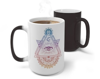 Boho Sacred Geometry Color Changing Mug, Evil Eye Mug, 11oz 15oz Mug, Magic Mug, Bohemian Hippie Boho Mug, Color Change Cup, Ceramic Mug
