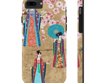 Tough Phone Case, iPhone Samsung Phone Cover, Japanese Cherry Blossom Floral Art Phone Case, iPhone 6/6s Samsung Galaxy, iPhone 7, 8 Plus