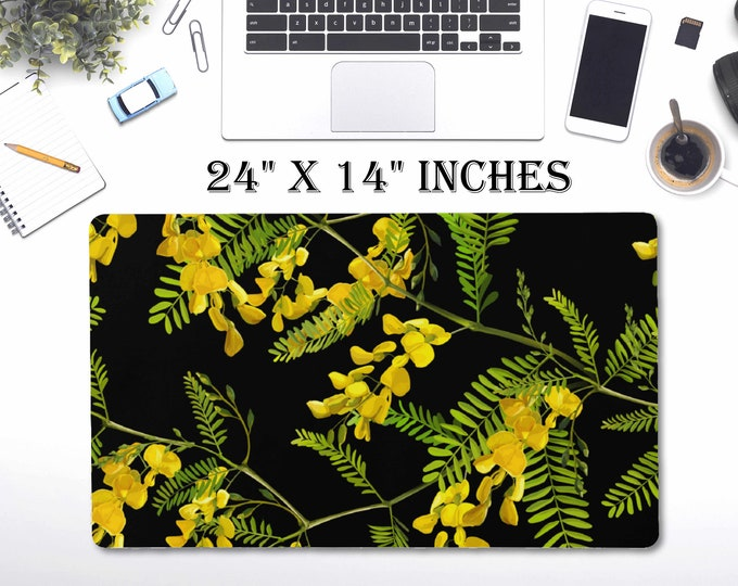 "LARGE Flowers Floral Desk Pad, 24"" x 12""in Non Slip Desk Pad, Office Accessories, Computer Tech Supplies, Boho Bohemian Neoprene Desk Mat"