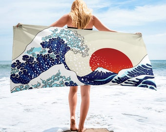 Large Beach Towel, 30 x 60 Inch Towel, Bath Towel, Japanese Ocean Sun Towel, Custom Print Towel, Asian Art Designer Towel, Premium Towel