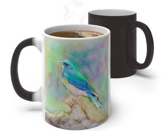 Watercolor Blue Bird Color Changing Mug, Magical Mug, 11oz 15oz Mug, Magic Mug, Bohemian Hippie Boho Mug, Color Change Cup, Ceramic Cup
