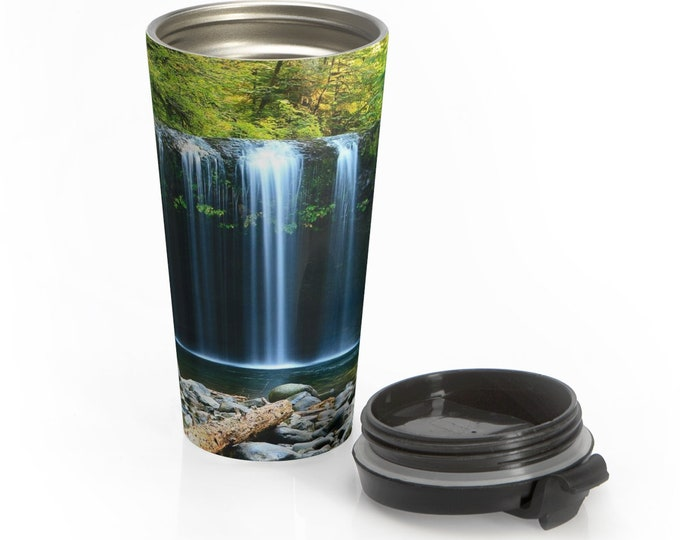 Stainless Steel Travel Mug, Boho Bohemian Hippie Travel Mug, Nature Waterfalls All Over Print Steel Mug, 15 Ounce Tumbler, 15oz Travel Mug