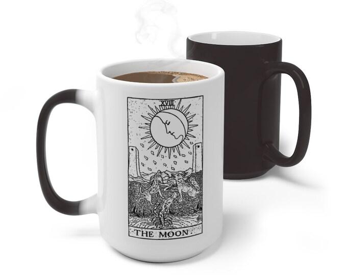 Tarot Card Color Changing Mug, The Moon Tarot Card Mug, 11oz 15oz Mug, Magic Mug, Occult Divination Spiritual Mug, Color Change Ceramic Cup