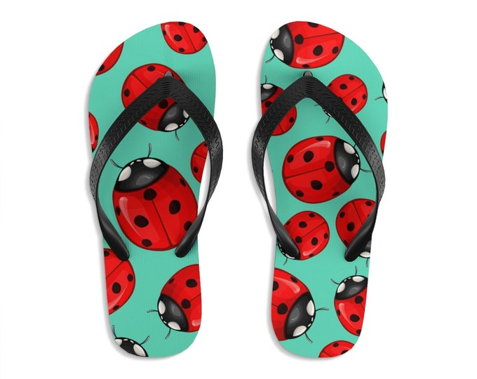 Unisex Flip Flops, Ladybug Bug Insect Print Sandals, Lady Bug Summer Beach Flip Flops, Beach Shoes, Boho Flip Flop Shoe Footwear Accessories