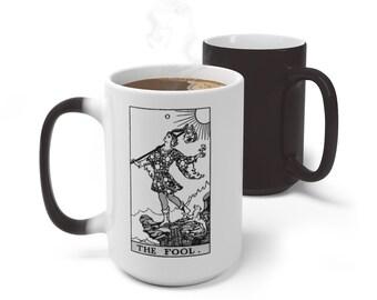 Tarot Card Color Changing Mug, The Fool Tarot Mug, 11oz 15oz Mug, Occult Divination Spiritual Magic Mug, Color Change Cup, Ceramic Mug