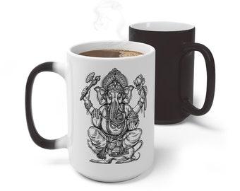 Hindu Lord Ganesh Magic Color Changing Wicca Mug, 11oz 15oz Mug, Ganesha Coffee Cup, Bohemian Hippie Boho Mug, Color Change Cup, Ceramic Mug