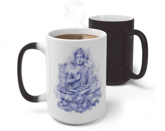 Boho Buddha Buddhism Color Changing Mug, Meditation Mug, 11oz 15oz Mug, Magic Mug, Bohemian Hippie Boho Mug, Color Change Cup, Ceramic Mug