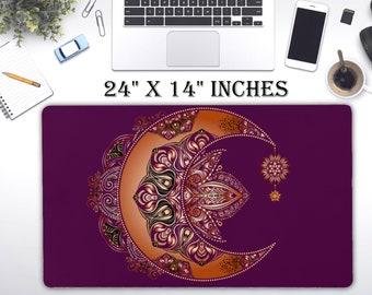 "LARGE Celestial Moroccan Moon Desk Pad, 24"" x 12""in No Slip Desk Pad, Office Accessories, Computer Tech Supplies, Bohemian Neoprene Desk Mat"