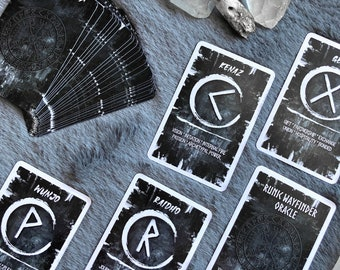 The Runic Wayfinder Oracle Deck, (28 Cards Bridge Size Oracle Deck), Handcrafted Custom Runes, Norse Futhark Runes Inspired Oracle Card Deck