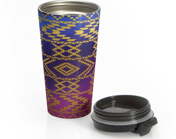 Stainless Steel Travel Mug, Aztec Boho Bohemian Hippie Travel Mug, Ombre Tribal Print Cup, 15 Ounce Tumbler, 15oz Coffee Tea Drinkware