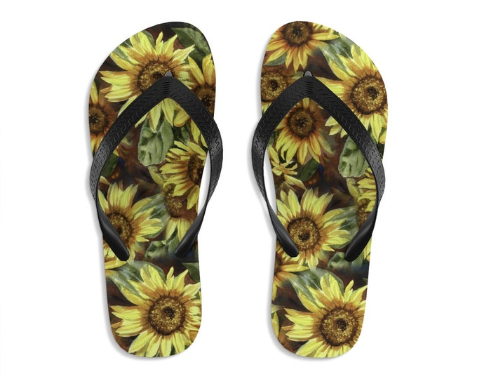 Unisex Flipflops, Sunflowers Print Sandals, Floral Soft Summer Beach Flip Flops, Beach Shoes, Boho Hippie Flip Flop Shoes