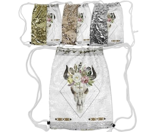 """Sequin Reversible Drawstring Backpack, Boho Bohemian Feather Skull Backpack, 12.5"""" x 16.5"""" Drawstring Lined Lining Carry Bag, Gold Silver"""