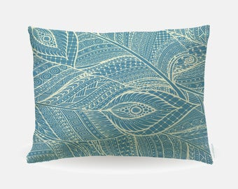 Boho Feathers Pillowcase, Standard Pillowcase 30x20in, Bohemian Standard Bedding Bed Pillow Case, Home Furnishings, Pillow Polyester Case