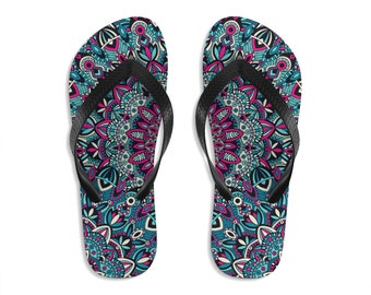 Unisex Flipflops, Mandala Boho Print Sandals, Soft Summer Beach Flip Flops, Beach Shoes, Boho Hippie Flip Flop Shoes, Bohemian Footwear