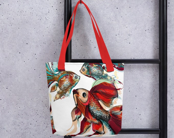 "15"" x 15"" Tote Bag, Japanese Koi Beta Fish All Over Print Tote Bag, 15 Inch Carry Grocery Bag, Reusable Tote, Beach Bag, Custom Large Tote"