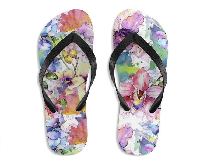 Unisex Flipflops, Watercolor Flowers Print Sandals, Floral Soft Summer Beach Flip Flops, Beach Shoes, Boho Hippie Flip Flop Shoes