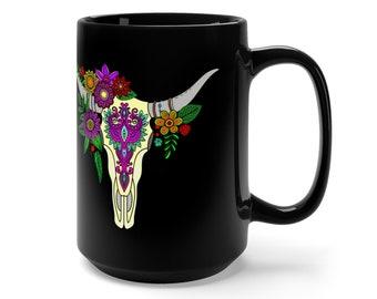 15oz Black Ceramic Mug, Boho Bohemian Buffalo Skull Novelty Mug, Novelty Drink Mug, Skull Coffee Mug, Boho Ceramic Mug, Gift For Him Her