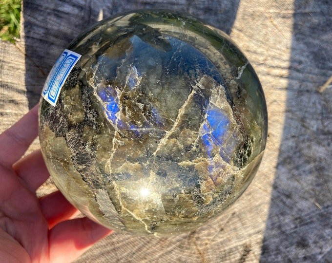 LARGE 6lbs Natural Flashy Labradorite Crystal Gem Sphere, Natural Labradorite Gemstone Crystal Ball,  Lab Crystal Gem Sphere Statue