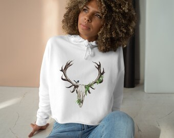 Womens Crop Fleece Hoodie, Tribal Buffalo Skull Boho Bohemian Crop Top Hoodie, XS-L Size, Crop Sweatshirt, Womens Sweatshirt Crop Pullover