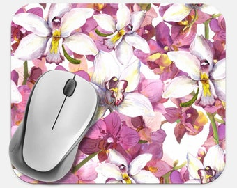 Floral Mouse Pad, Flowers Mouse Pad, Computer Accessories, Tech Desk Supplies, Boho Bohemian Hippie Mouse Pad, Neoprene Non Slip Mouse Pad