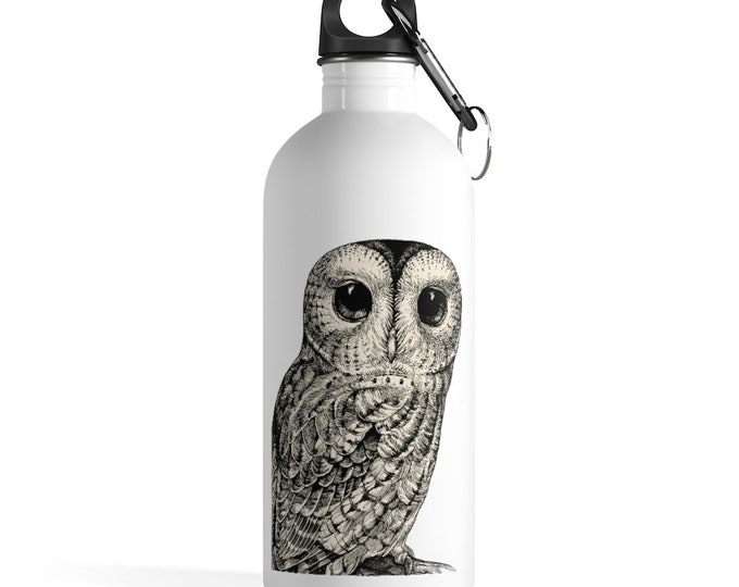 Owl Stainless Steel Water Bottle, Reusable 14oz Steel Water Bottle, Workout Gym Quote Water Bottle, Sports Bottle, Animal Totem Water Bottle