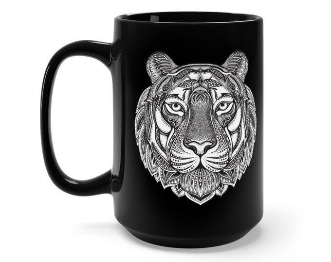 15oz Black Ceramic Mug, Boho Bohemian Tiger Cat Wildcat Novelty Mug, Novelty Drink Mug, Animal Coffee Mug Boho Black Mug, Gift For Her Him