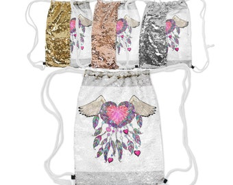 "Sequin Reversible Drawstring Backpack, Boho Bohemian Feather Heart Angel Backpack, 12.5"" x 16.5""  Lined Lining Carry Bag, Gold Silver Rose"