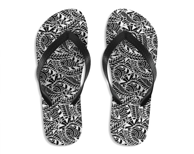 Unisex Flipflops, Mandala Henna Mendhi Print Sandals, Soft Summer Beach Flip Flops, Beach Shoes, Boho Hippie Flip Flop Shoes