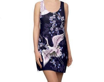Women's Racerback Dress, Japanese Crane Floral Print Dress, Womens Tank Dress, All Over Print Racerback Dress Apparel Clothing, Floral Dress